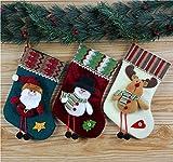 KEANER Lovely Gift Set of 3 Styles Creative Christmas Tree Hanging Decoration Sock Santa Deer Snowman Stocking