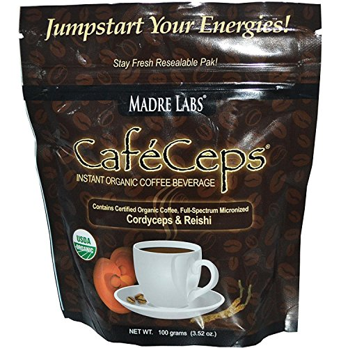 Madre Labs, CafeCeps, Instant Organic Coffee Beverage, Stay Fresh Re-Sealable Pak!, 3.52 oz (100 g) Pack Of 4 (Pak Lab)