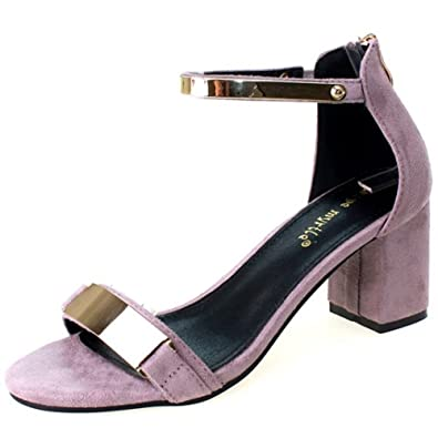 COOLCEPT Mujer Moda Mary Jane Tacon Bajo Zapatos Vintage Al Tobillo Zapatos (35 EU, Gray)
