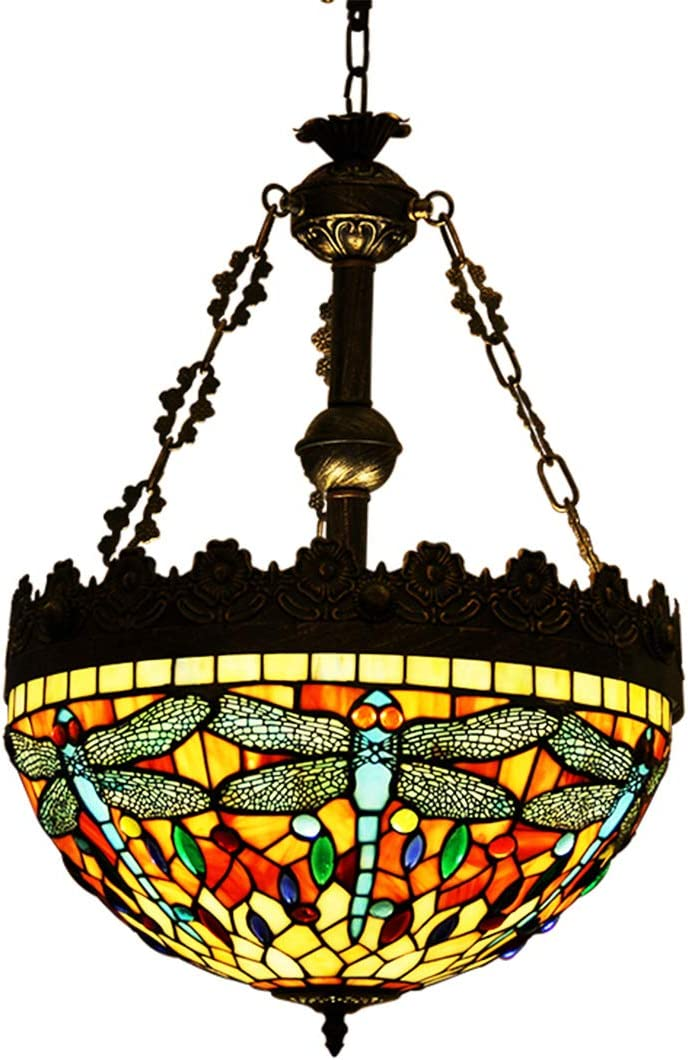 Makenier Vintage Tiffany Style Stained Glass Dragonfly Inverted Ceiling Pendant Lamp Fixture, 16 Inches Lampshade