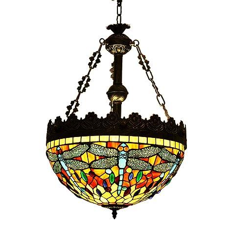 Makenier - Lámpara de techo (estilo Tiffany, de vidrios, tamaño grande, 40,64 cm de pantalla de lámpara), diseño de libélulas