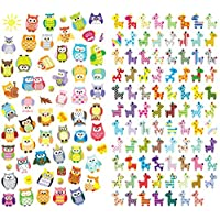 [DECO FAIRY] Colorful Owls and Giraffes Stickers (150 Stickers)