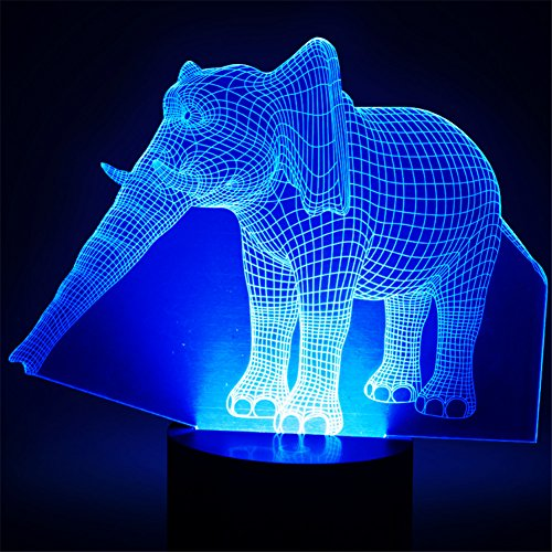 3D Elephant Lamp, Optical Illusion Night Light for Nursery / Decor / Living Room, 7 Colors Changing Elephant Toy and Gift for Kids / Birthday by YKL World