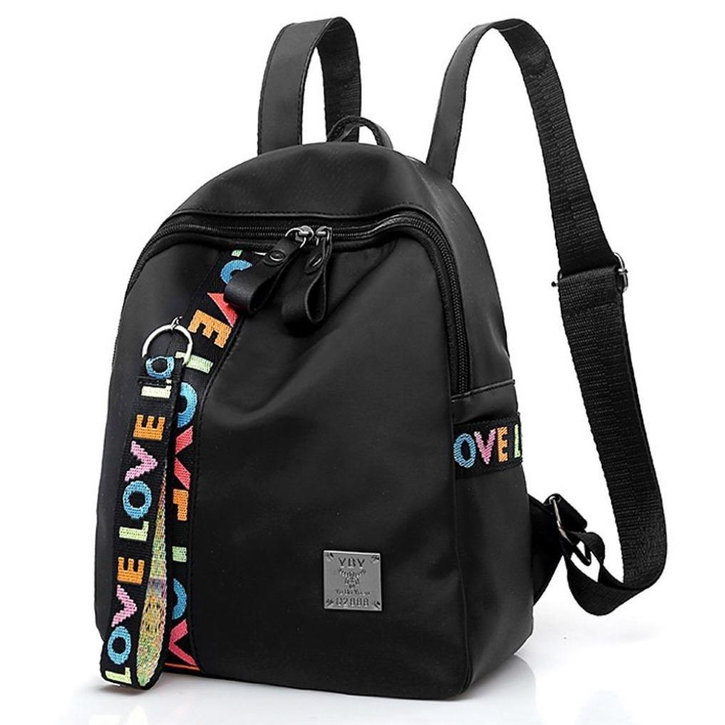 Auwer Girls's Backpack, Leisure Zipper Bag Student Backpack Folding Bag Shoulder Bag Travel Bag (Black)