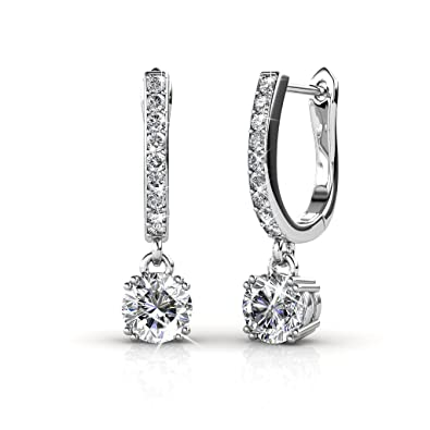 9c118f0cc74f6 Amazon.com: Cate & Chloe McKenzie 18k White Gold plated brass with Swarovski  Solitaire Crystals Dangle Channel Set Drop Horseshoe Earrings: Jewelry