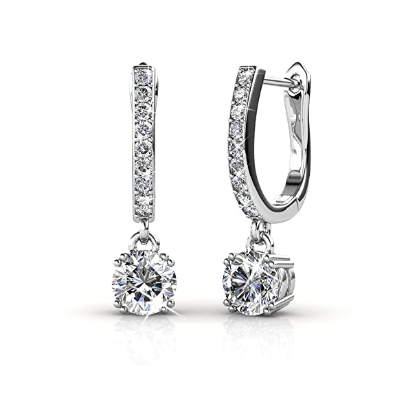 0f4d2ab94df Cate & Chloe McKenzie 18k White Gold plated brass with Swarovski Solitaire  Crystals Dangle Channel Set Drop Horseshoe Earrings