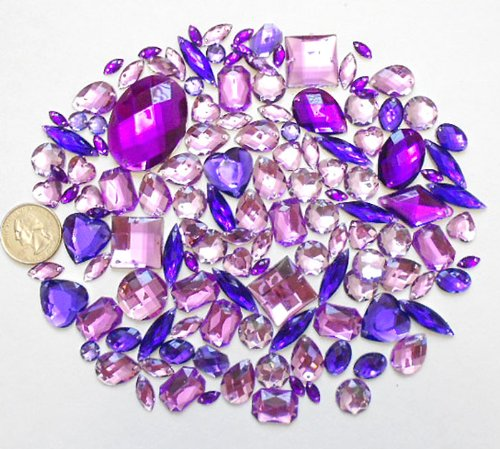LOVEKITTY 100 pc lot - Sew-On Gems - Lavender Puple Mixed Shapes Flat Back Gems (Mixed Sizes has thread holes) by lovekitty