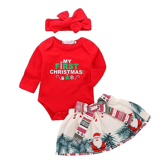 f960a9552d0 Xmas 3pcs Outfit Set Newborn Baby Girls My First Christmas Romper Top+Santa  Skirt+