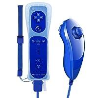 WII Remote Plus, XW05 Nintendo 2 in 1 WII Controller mit Nunchuck Eingebauter Motion Plus Vibrationsmotor für WII und WII U + Silikon Schutzhülle und Handschlaufe - Blau (Drittanbieter Produkt)
