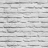 "HaokHome 11501 Modern Faux Painted Brushed Brick Wallpaper White Grey Wall Paper Roll 3D Brick Stone Home Room Decoration 20.8"" x 393.7"""