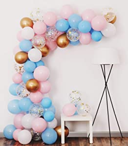Gender Reveal Balloon Garland Kit, Gender Reveal Party Supplies Balloons Backdrop Including Light Blue Pink Gold Confetti Balloons for Gender Reveal Party Decorations