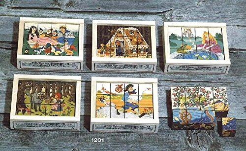 (Atelier Fischer Wooden Block Cube Puzzle in Wooden Case - Fairy Tale Scenes (12 Pieces))
