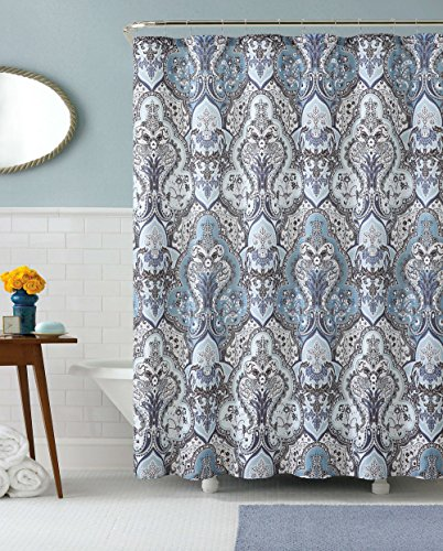 Calais dobby silver teal aqua blue gray brown paisley for Blue and silver bathroom accessories