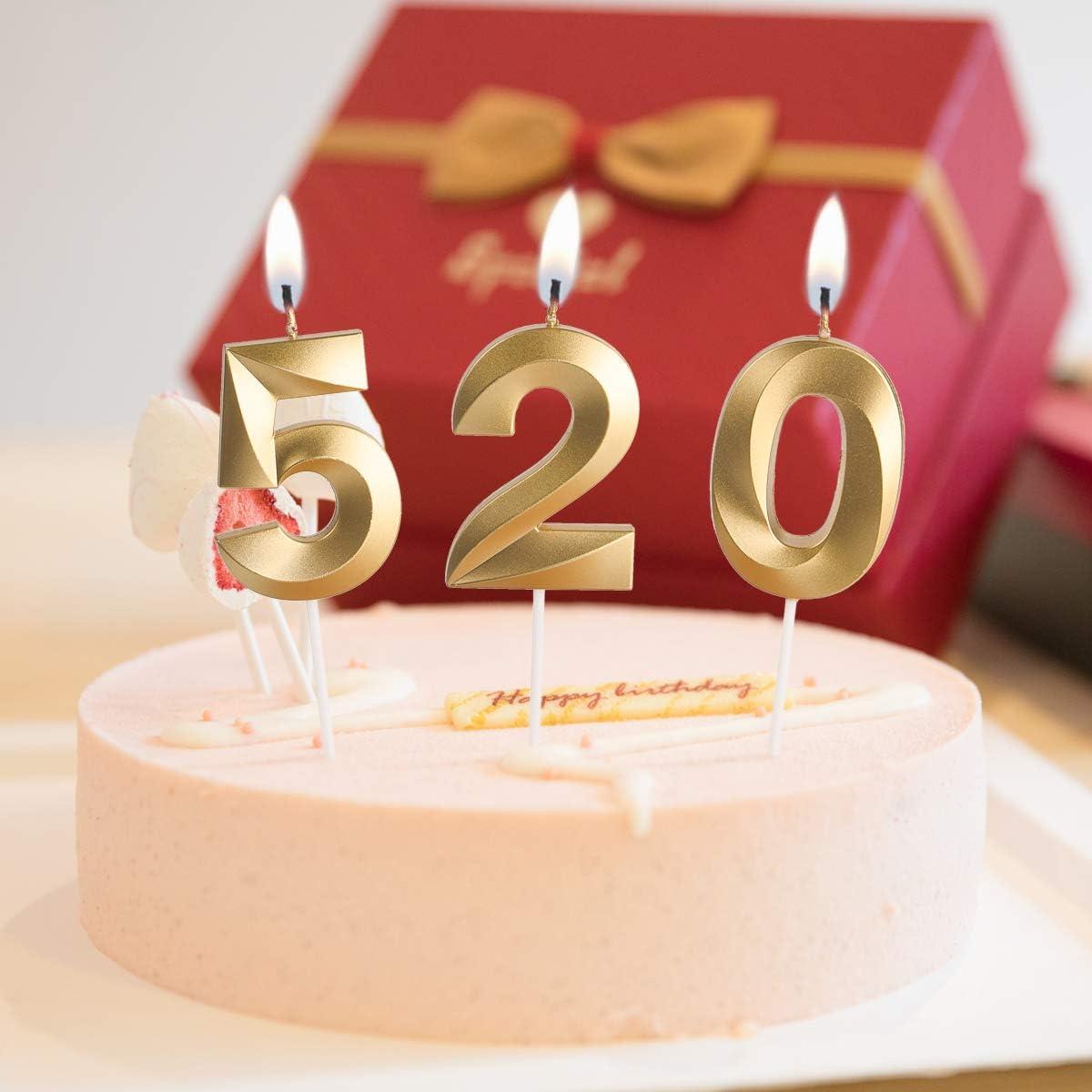 Fiestas De Jubilaci/ón 6 Velas De Cumplea/ños Oro Aniversarios De Bodas URAQT Velas De Cumplea/ños N/úmero Adecuado para Fiestas De Cumplea/ños