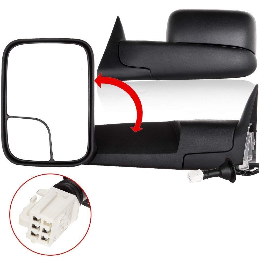 ECCPP Towing Mirror Truck Power Heated Folding Tow Rear View Mirror for 98-01 Dodge Ram 1500 98-02 Ram 2500 3500 Pair Set by ECCPP