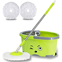 Golatek Easy Magic Floor Mop 360° Bucket Spin Double Drive Hand Pressure with 2 Microfiber Mop Head Household Floor Cleaning & 4 Colors Available (Random Color).