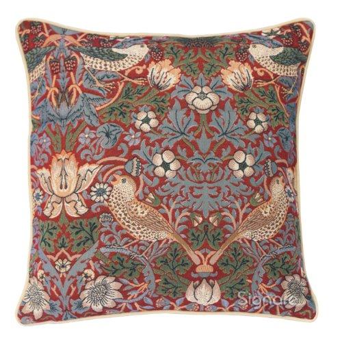 (Signare Red Floral William Morris Cushion Cover Designer Decorative Sofa Couch Pillow | 45x45 cm | Strawberry Thief (CCOV-STRD))
