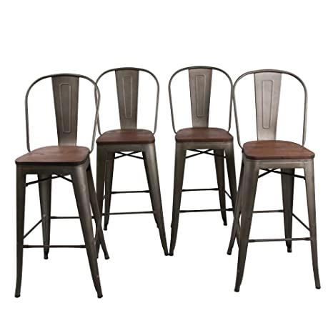 Fabulous Haobo Home 30 High Back Barstools Metal Stool With Wooden Seat Set Of 4 For Indoor Outdoor Bar Stools Bronze Machost Co Dining Chair Design Ideas Machostcouk