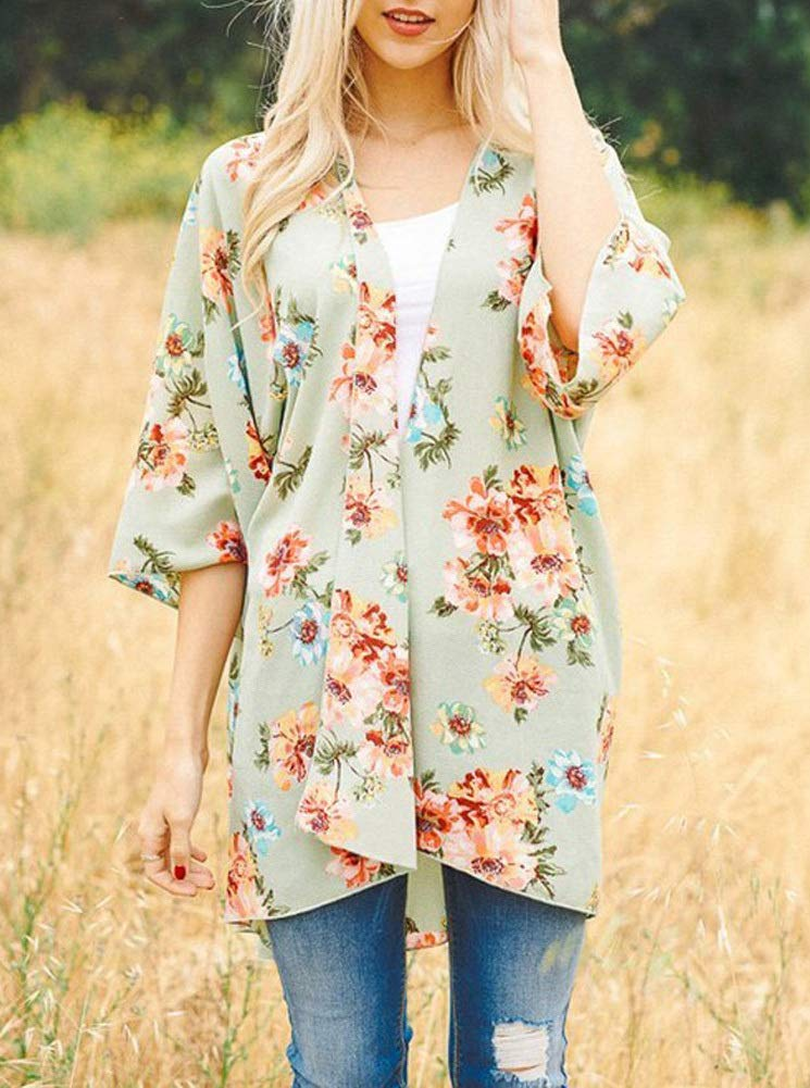 PINKMILLY Women Floral Print Kimono Cover up Sheer Chiffon Blouse Loose Long Cardigan Sage Medium by PINKMILLY (Image #2)