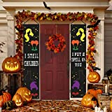 Happy Storm Halloween Decorations Hocus Pocus Banner I Smell Children Halloween Porch Sign Door Hanging Sign with Witch Sisters Black Cat Decor for Home Indoor Outdoor Wall Party Supplie: more info