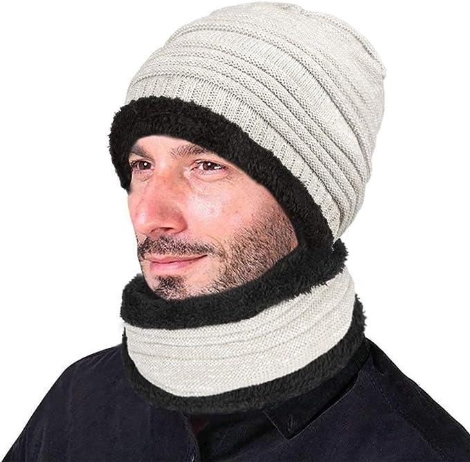 XIAOYAO Gorro Invierno Hombre con Bufanda, Calentar Sombreros Gorras Beanie de Punto (Gris Blanco 1): Amazon.es: Deportes y aire libre