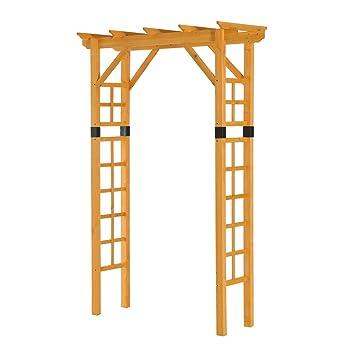 amazon com outsunny 84 wooden garden arbor arch trellis