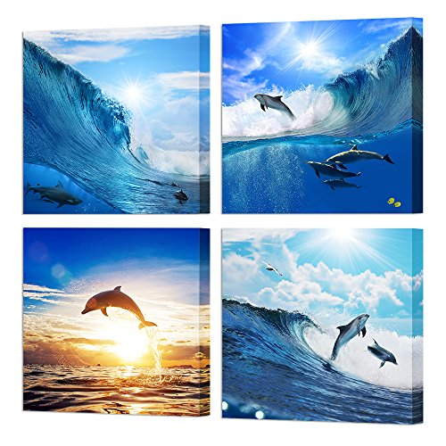 Dolphin Art - VVOVV Wall Decor - Wild Animal Canvas Wall Art Painting Giclee Prints Dolphins Jumped Out Of Water Under Sunset Poster Framed Seascape Sea Wave Picture Contemporary Decorations for Home