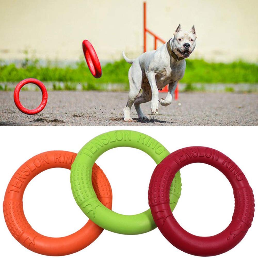 JIGAN Dog Frisbee Toys Flying Dog Disc Floating Toys Tug of War Interactive Training Ring Outdoor Durable Throw and Fetch Chew Toys for Medium Dogs, 3 Pcs by JIGAN