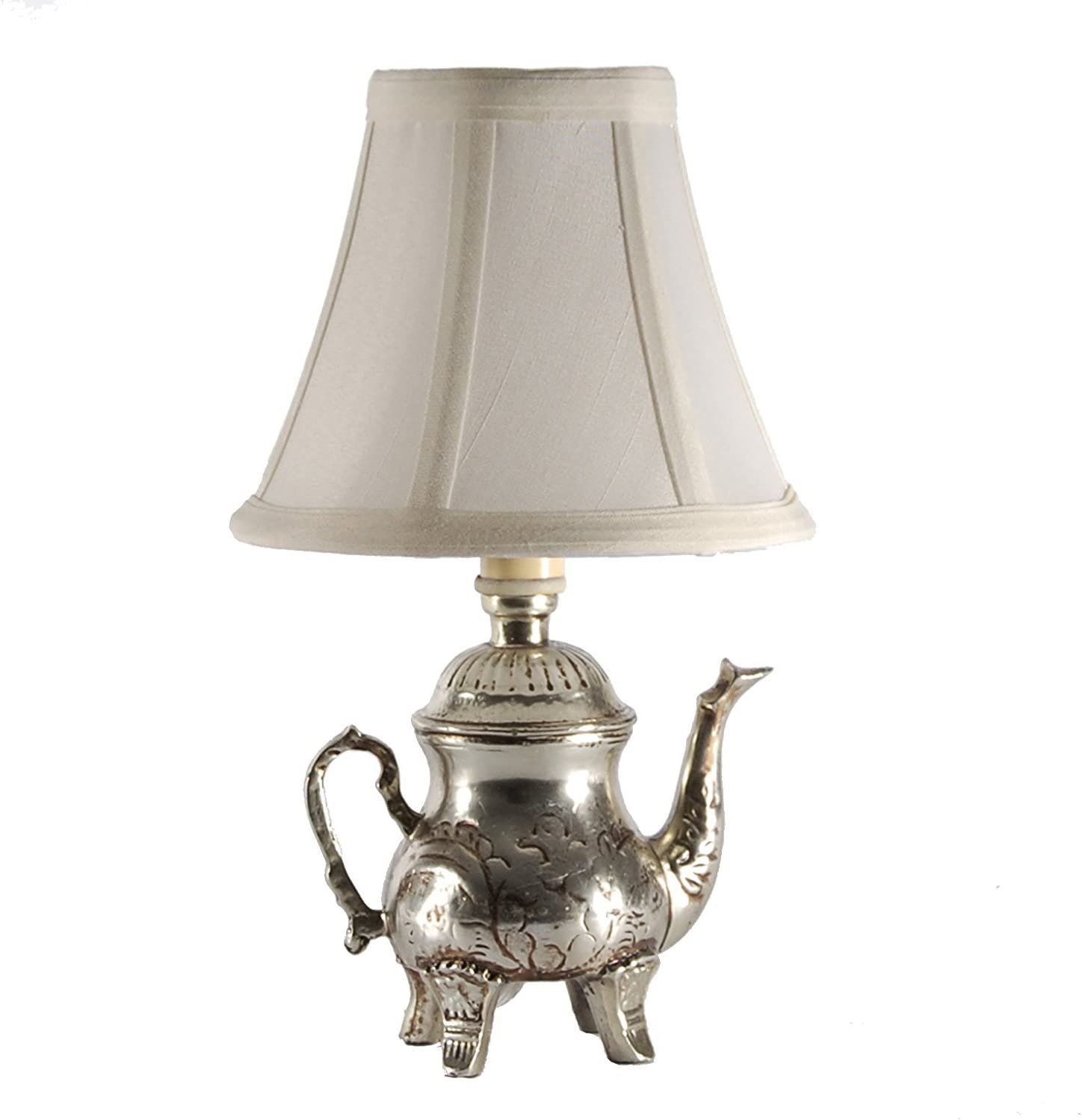 CBK Small Silver Teapot Accent Table Lamp