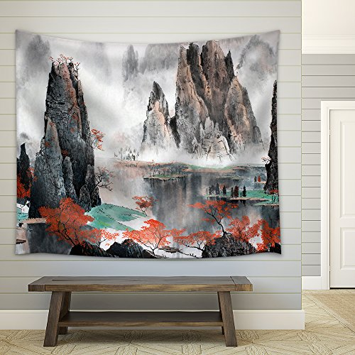 Chinese Landscape Misty Mountains and Water Fabric Wall Tapestry