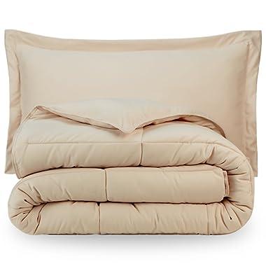 Bare Home Ultra-Soft Premium 1800 Series Goose Down Alternative Comforter Set - Hypoallergenic - All Season - Plush Siliconized Fiberfill (Full/Queen, Sand)