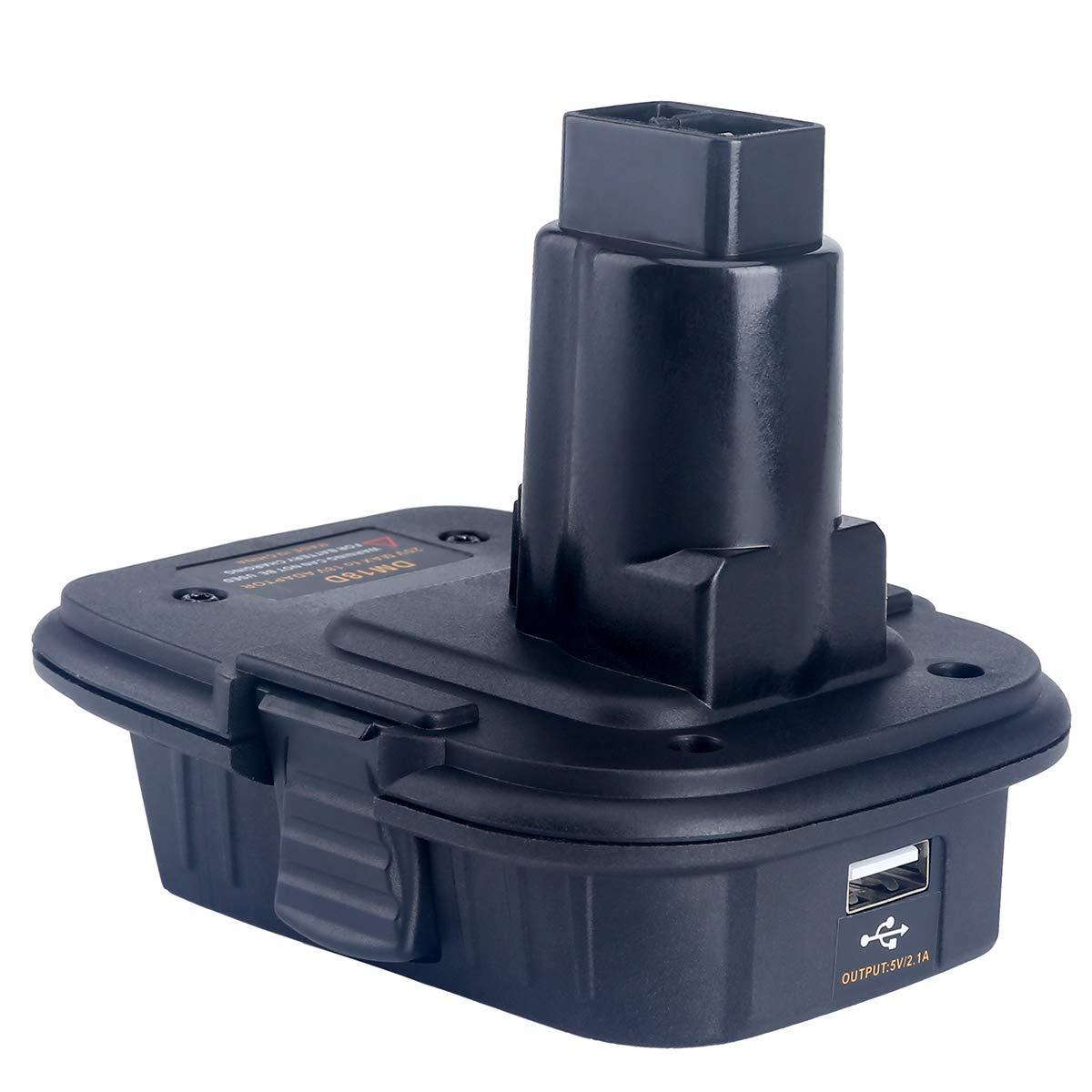 Lasica 20V Battery Adapter DCA1820 with USB port for Dewalt 18V Tools, Convert DeWalt MAX 20Volt Lithium-Ion Battery DCB204 DCB205 or Milwaukee 18V Battery M18 to DeWalt 18V NiCad NiMh Battery DC9096
