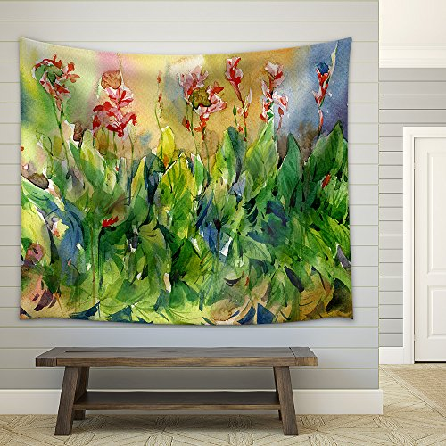 Abstract Flowers Watercolor Painting Spring Multicolored Flowers Fabric Wall