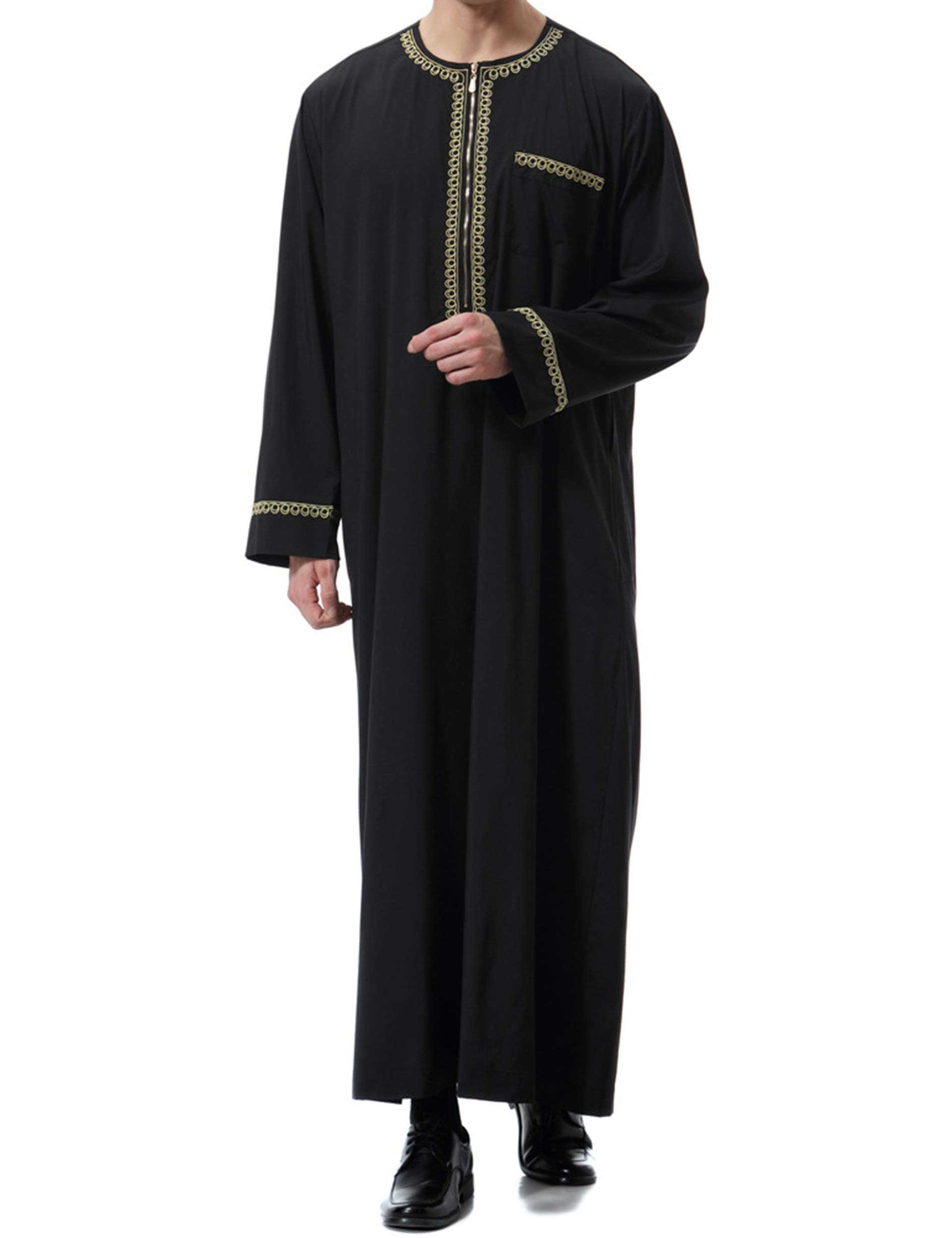 Islamic Mens Clothing Kaftan Maxi-Muslim Male Shirt Long Sleeve Abaya Dubai Cotton (Black,XL)