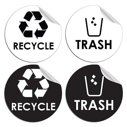"""Basura para reciclaje adhesivo – 4 """"x 4"""" – Organizar y coordinar basura"""