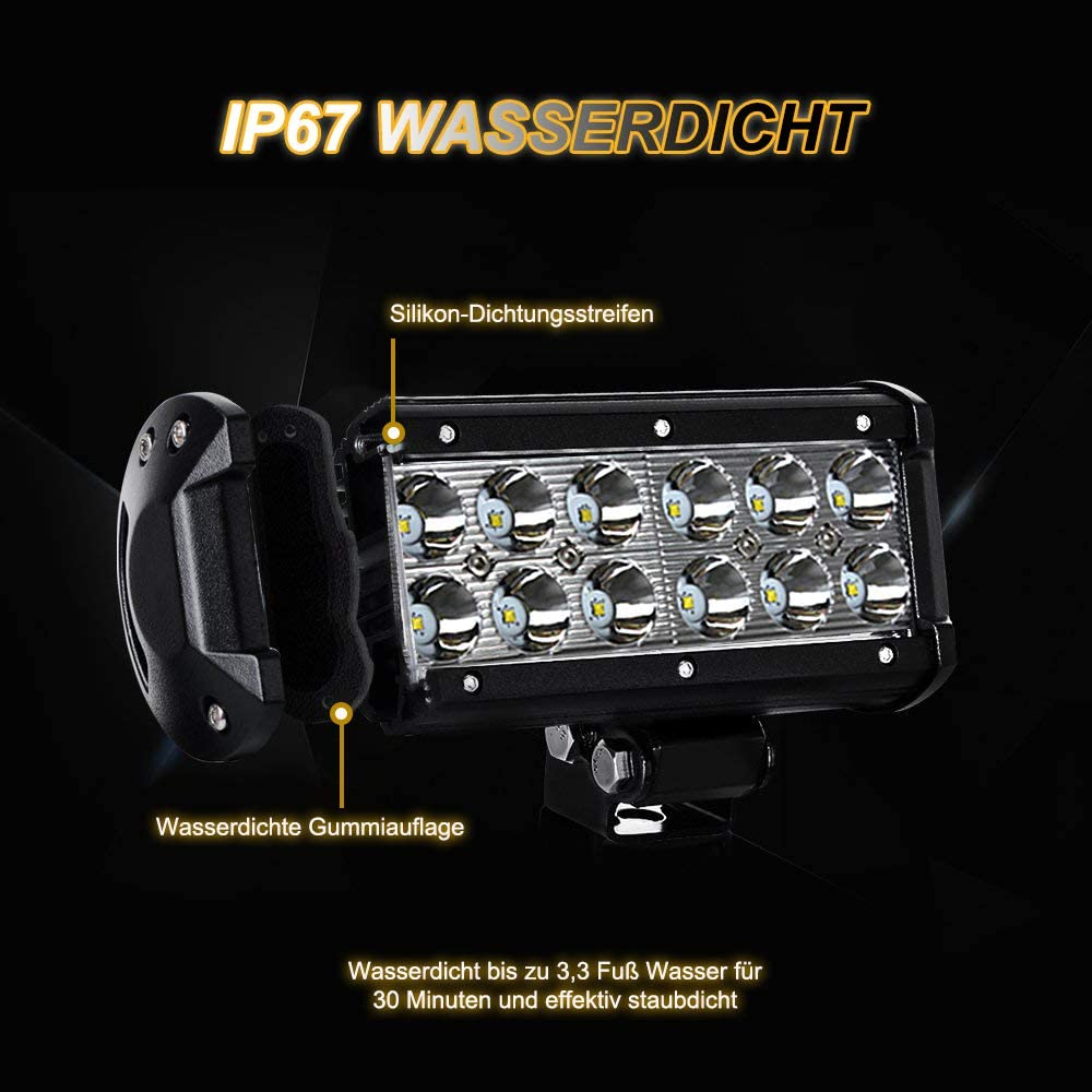 Auto jare 2/x 36/W LED Faro de trabajo Luz listones 7/Inch para tractor excavadora Offroad SUV ATV Ute UTV 12/V 24/V
