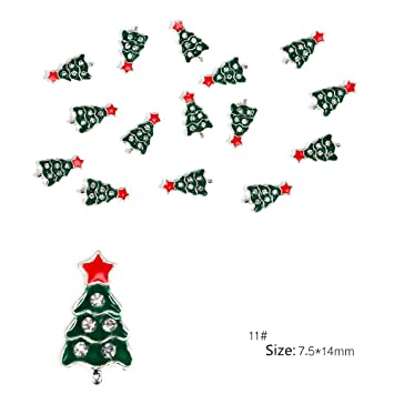 Amazon Com 10pcs 3d Xmas Tree Snowman Gold Metal Slices Nail Art