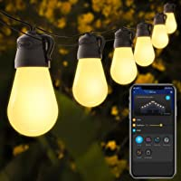Govee 48ft Outdoor String Lights with Bluetooth App Control, Waterproof Shatterproof Patio Lights with 15 Dimmable Warm…