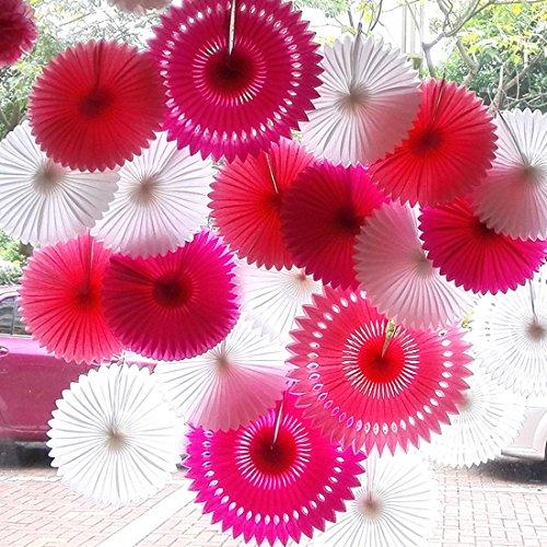 SANNIX Vintage Collection Hanging Tissue Paper Fan Party Decoration 16 Various Sizes 6 PCs Pink