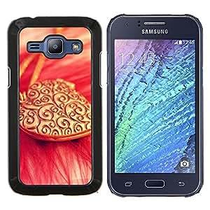 YiPhone /// Prima de resorte delgada de la cubierta del caso de Shell Armor - El amor del corazón collar de oro - Samsung Galaxy J1 J100
