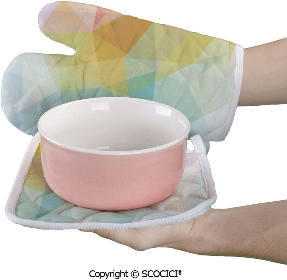 SCOCICI Oven Mitts Glove - Pale Modern Rainbow Ombre Colored Image Squares and Sharp Heat Resistant, Handle Hot Oven Cooking Items Safely