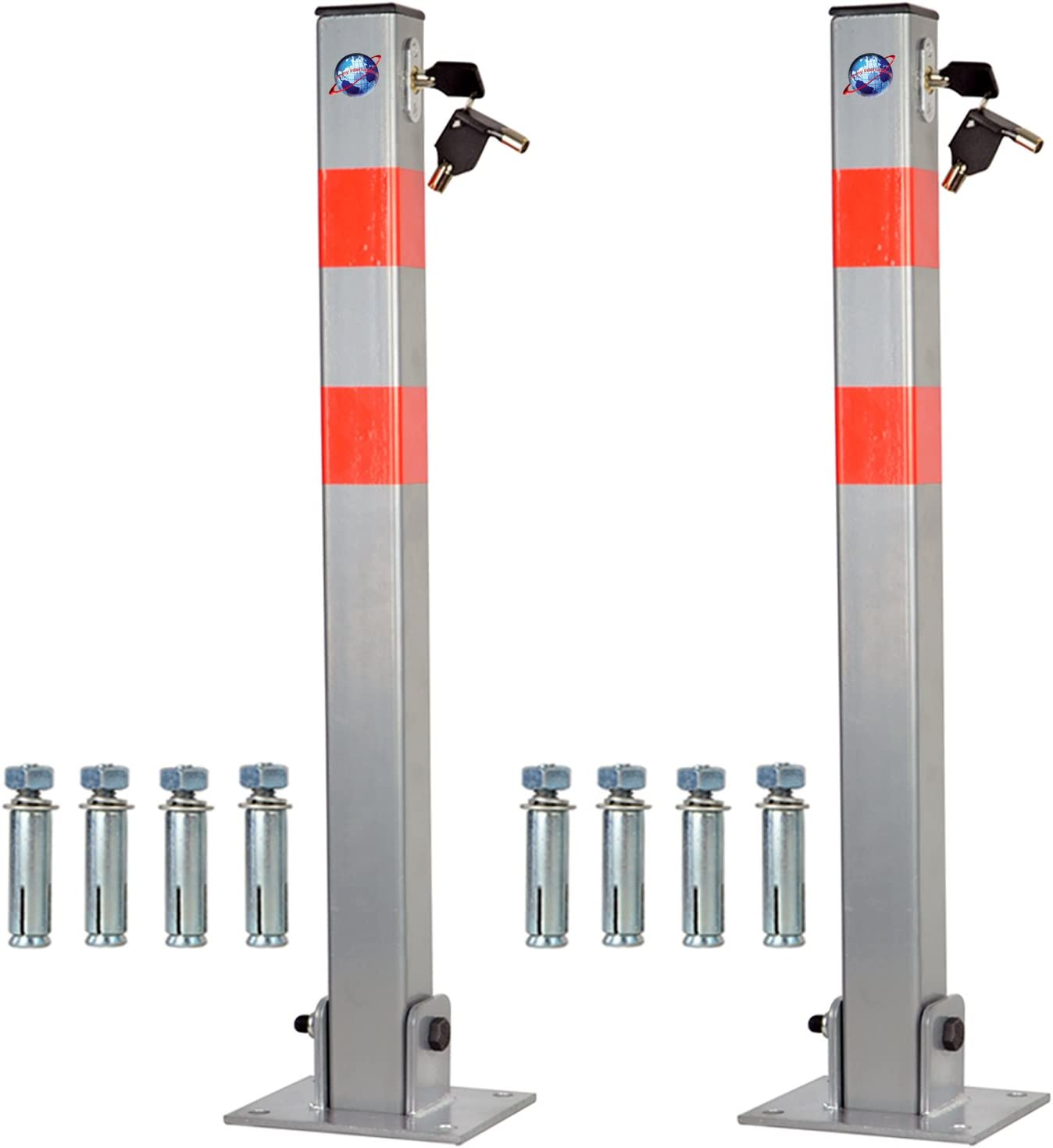 2 PROGEN Heavy duty Car Parking Folding locking Barrier Bollard for Driveways Vehicles and Security Posts car safety with reflective red stripes with 3 keys for barrier