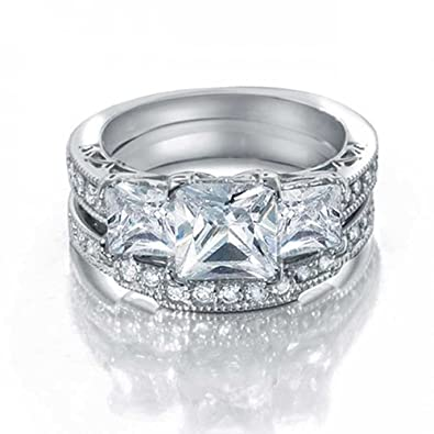3c4a404373 Amazon.com: Art Deco Style 3 CT Square Princess Cut 3 Stone Past Present  Future Promise CZ Engagement Wedding Ring Sterling Silver: Jewelry