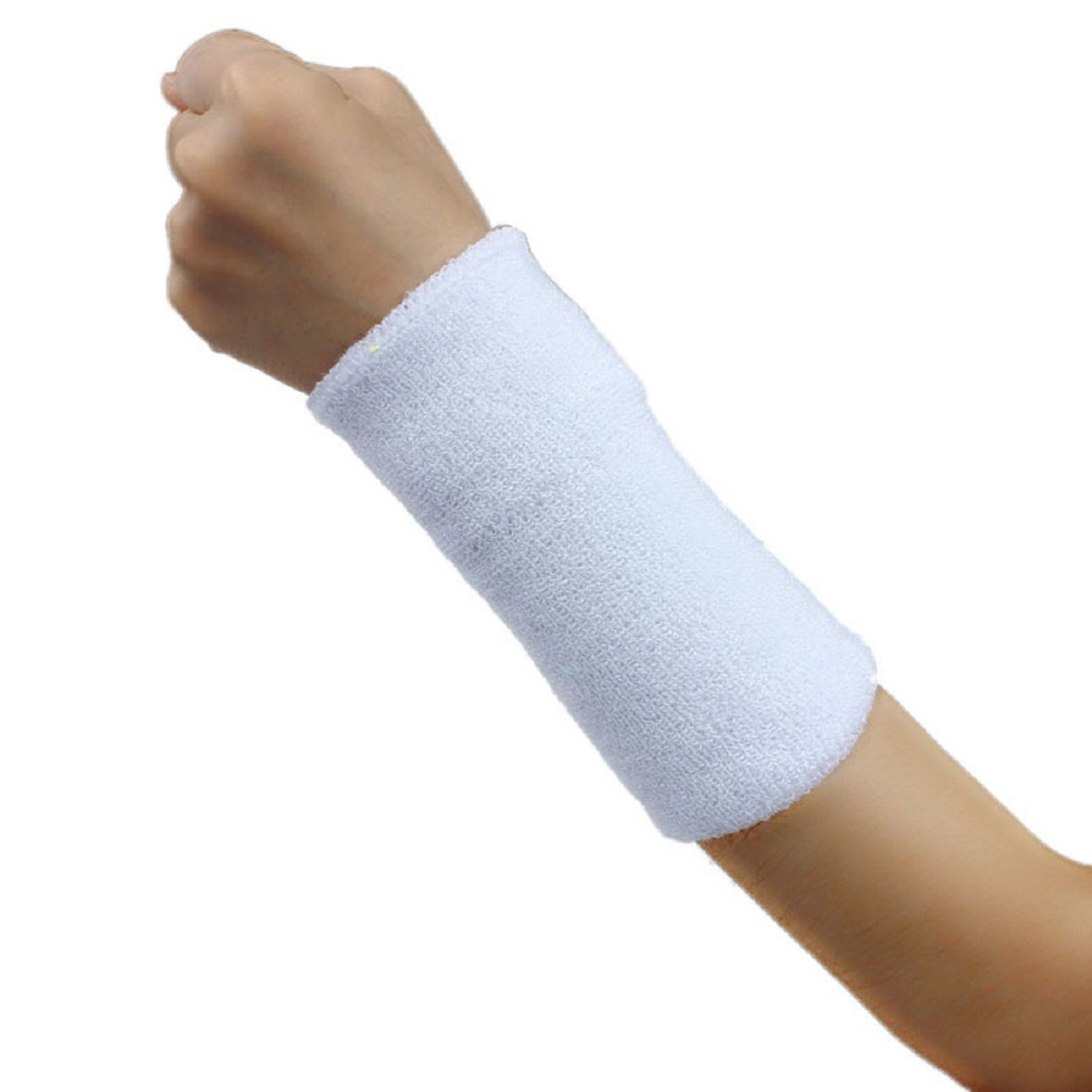 Tonsee 1 PCS Unisex Cotton Basketball Tennis Gym Yoga Sweatband Wristband (White)