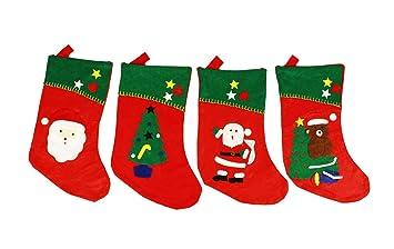 HAAC Bota-calcetín Botas calcetín de Navidad con Papá Noel, Árbol de Navidad o oso Fieltro 41 cm x 24 cm: Amazon.es: Hogar