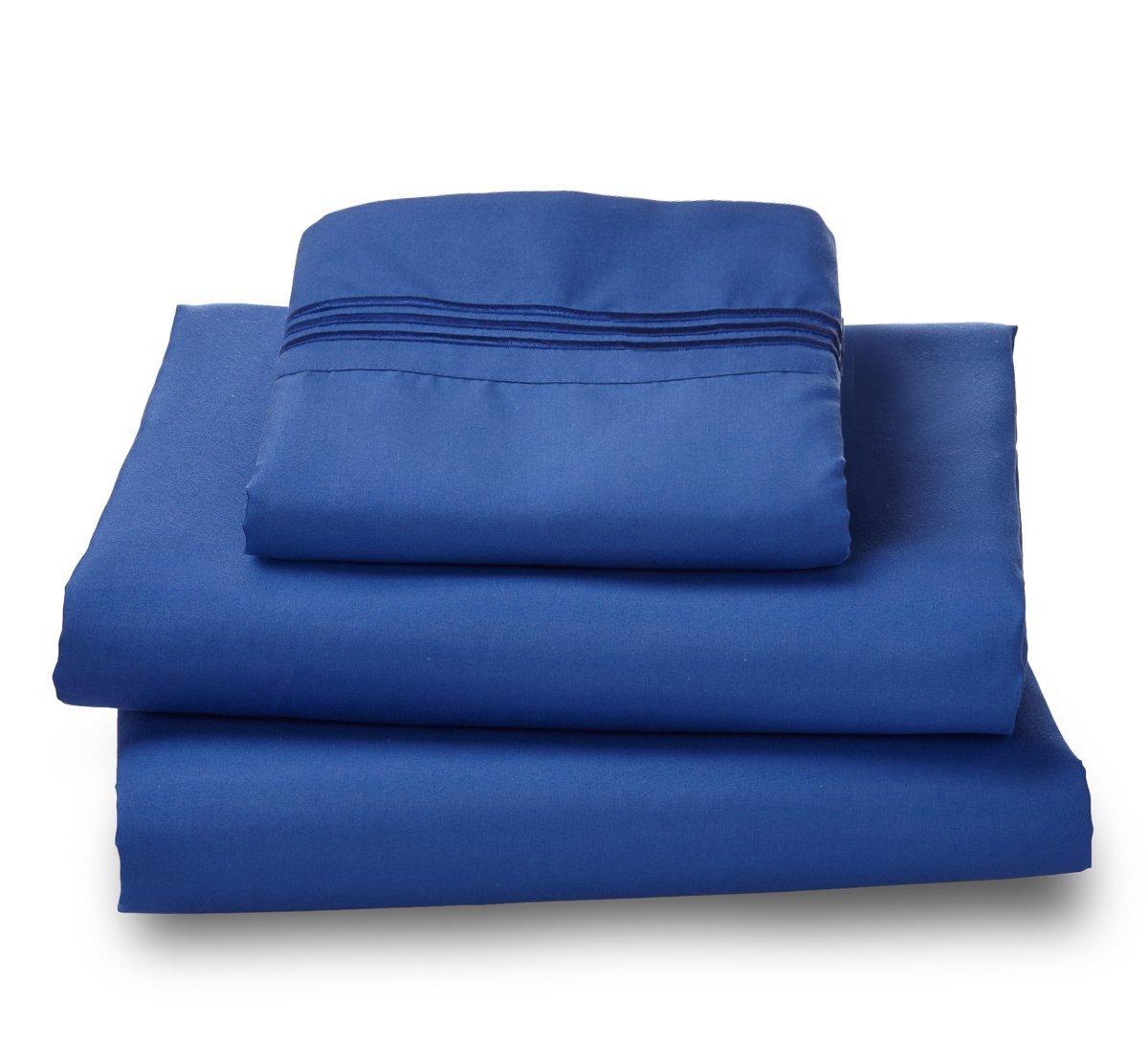 Where the Polka Dots Roam 100% Ultra Soft Microfiber Easy Care Luxury Sheet Set, Twin, Indigo Blue
