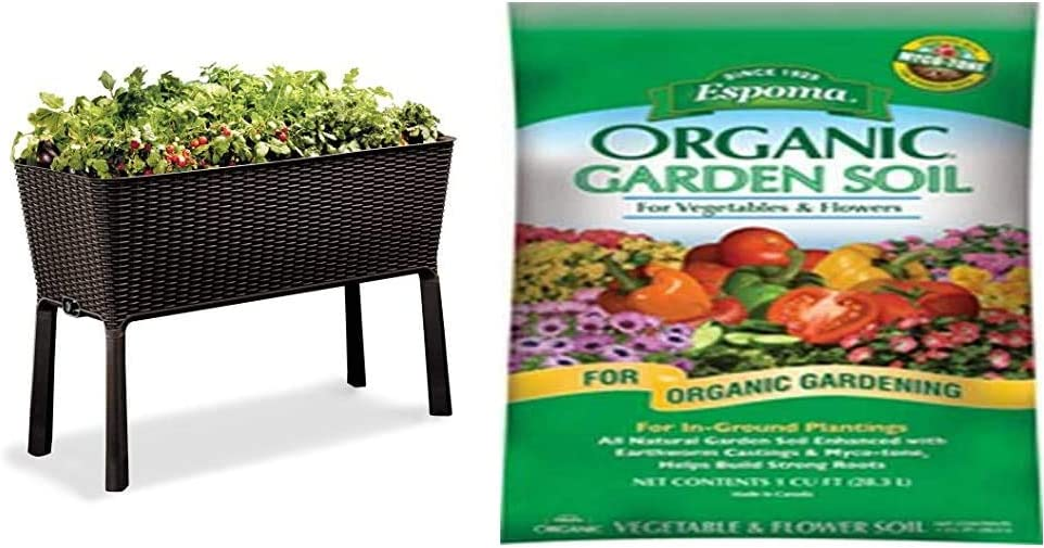 Keter Easy Grow 31.7 Gallon Raised Garden Bed with Self Watering Planter Box and Drainage Plug, Brown & Espoma Company (VFGS1) Organic Vegetable and Flower Soil