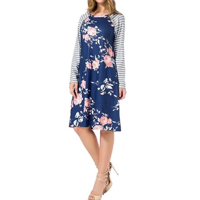 OverDose mujer vestido fiesta de manga larga de impresión floral vestidos