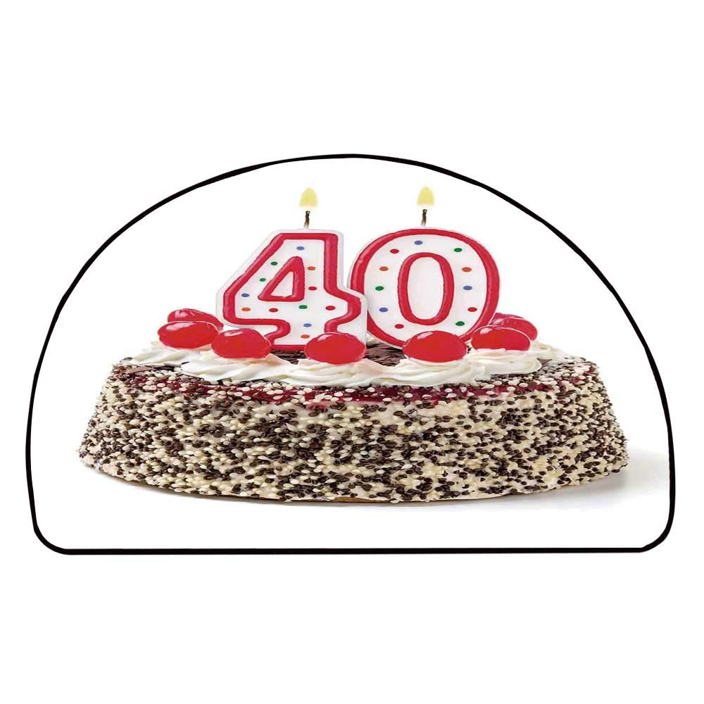 C COABALLA 40th Birthday Decorations Comfortable Semicircle Mat,Yummy Desert Sweet Party Cake Burning Number Candles Cherries for Living Room,11.8'' H x 23.6'' L