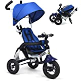 Costzon Baby Tricycle, 6-in-1 Foldable Steer Stroller, Learning Bike w/Detachable Guardrail, Adjustable Canopy, Safety…